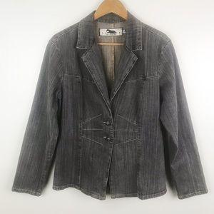 TWO STAR DOG Black Jean Jacket 2 Button Blazer